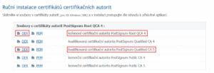 Ruční instalace certifikátů certifikačních autorit