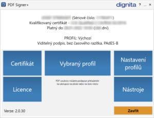 Základní obrazovka programu PDF Signer+